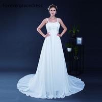 Forevergracedress Elegant A Line Wedding Dress New Spaghetti Strap Sleeveless Long Chiffon Bridal Gown Plus Size