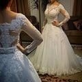 2017 nuevo Vestido de noiva Mangas Largas Vestidos de Novia Sexy Back Vestidos de Novia Vestidos De Novia de Princesa Casamento Robe de Mariage