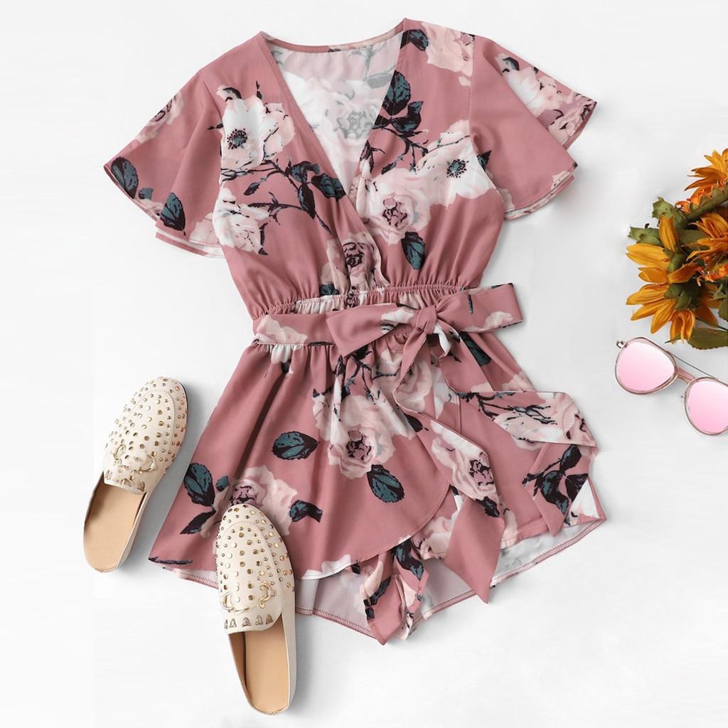 Women's V-Neck Bow Tie Ladies Summer Shorts Floral Print Wrap Romper bodysuit body combinaison femme rompers womens jumpsuit