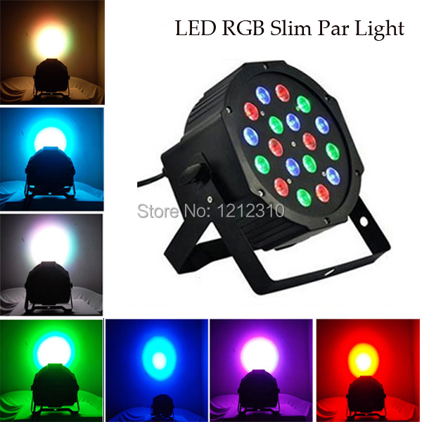 DHL Free 6PCS/LOT 18 Led Stage Light High Power RGB Par Light With DMX512 Master Slave Led Flat DJ Equipments Controller