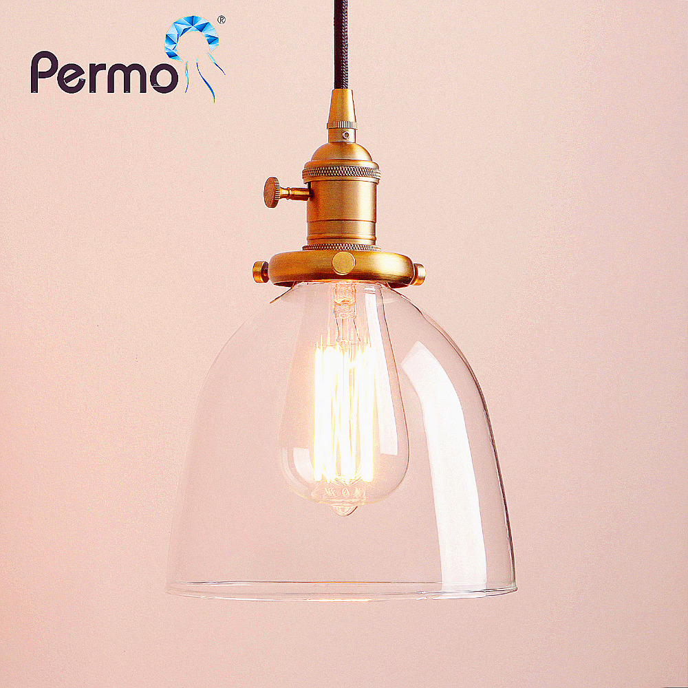 PERMO 6 7 Copper Glass Pendant Lights Restaurant Pendant Ceiling Lamps Modern Hanglamp Vintage Luminaire Lights