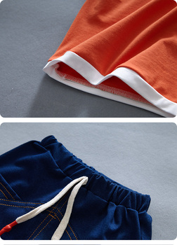 Newborn Baby Boy White Shirt And Blue Short 2Pcs Clothing Set 5