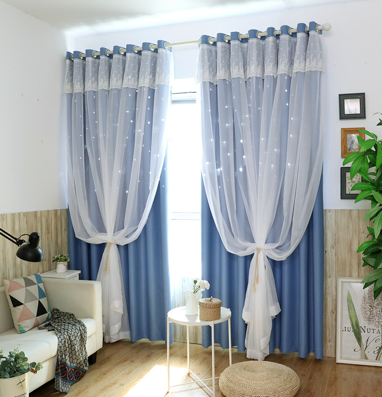 SunnyRain 1 Piece Double layer Hollow out Stars Curtain ...