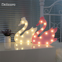 DELICORE Pretty Cute swan Cartoon Animal Night Light Baby Room Sleeping Light Bedroom Desk Lamp Night Lamp Of Best Gifts S129