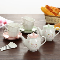 Japanese cherry ceramic coffee cup set with spoon pot afternoon tea high grade tea sets