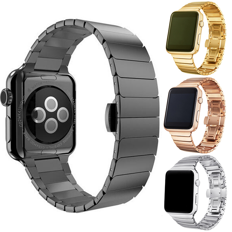Hight Quality Luxury Watchbands For Apple Watch Band 42mm Stainless Steel Link Bracelet 38mm Metal Straps Accessories willtoo hight quality luxury butterfly lock link stainless uomo bangle chain steel band strap regulator for apple watch 42mm