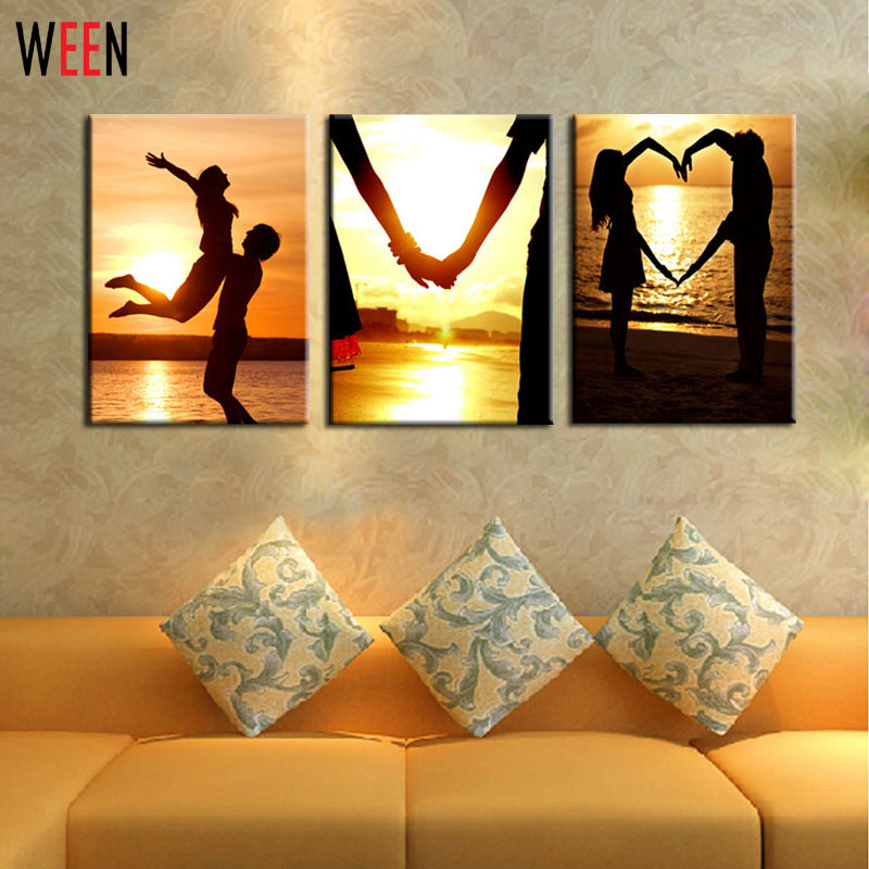 3 Panels Art Picture Sets Romantic Lover Wall Art Wall Pictures ...