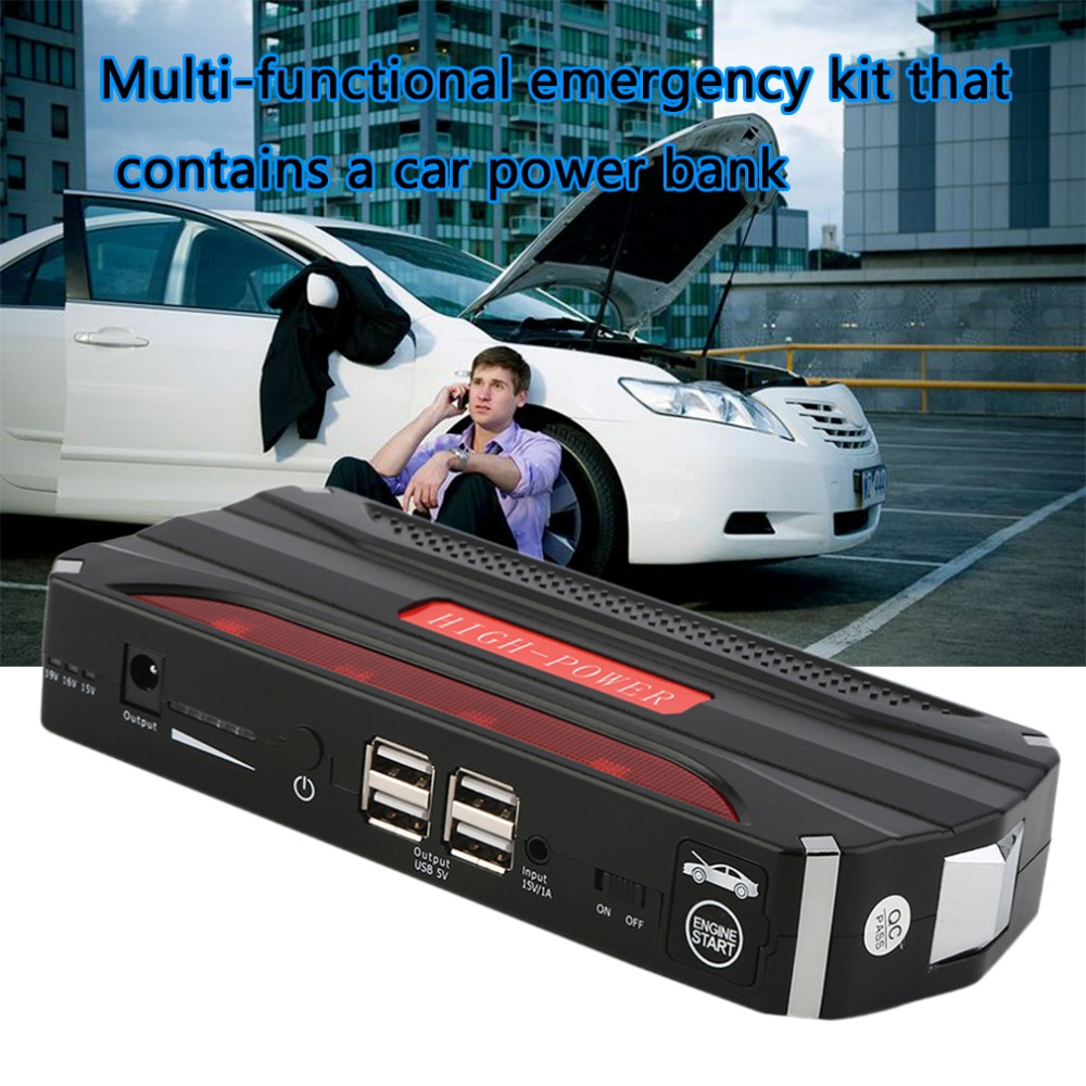18000mAh Car Battery Charger Pack Jump Starter Multi Function Auto Emergency Power Bank for Starting Car (Black & Red )
