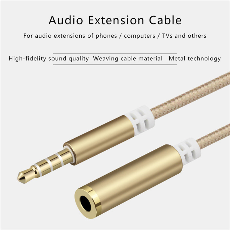 Earphone Extension Cord 4 Sections 3.5MM 100cm Male To Female Audio Extension Cable Braided Wire Phone Aux Cable for Computer