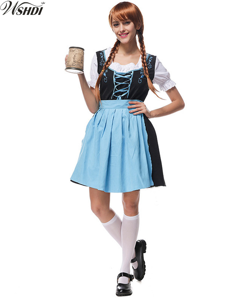 Womens German Beer Girl Costume Bavarian Heidi Dirndl Fancy Dress Oktoberfest Wench Maiden Costume Halloween Cosplay Party