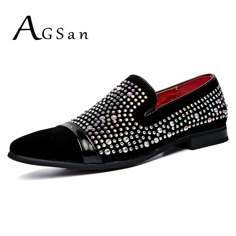 d1567b9f082 US $28.78 21% OFF|AGSan Men Handmade Luxury Brand Men Loafers Diamond  Rhinestones Dress Shoes Red Bottom Wedding Party Loafers Smoking  Slippers-in ...