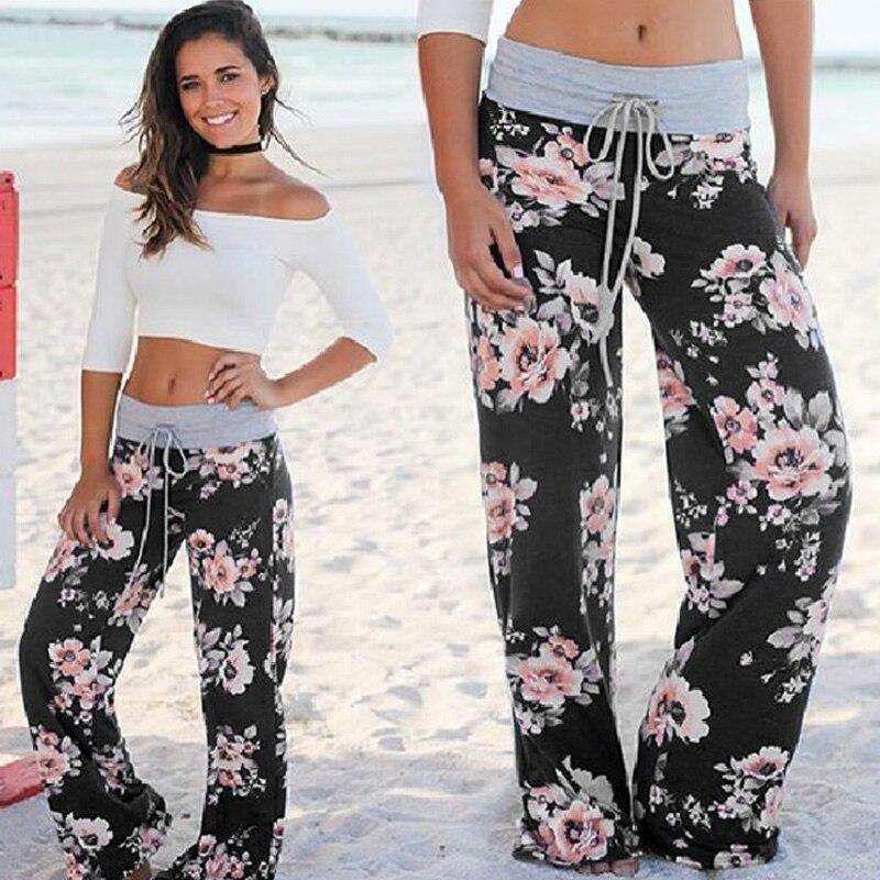 XM Causal Women Autumn Flower Print   Pants   2017 Drawstring   Wide     Leg     Pants   Loose Straight Trousers Long Female Plus Size Trousers