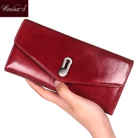 Genuine Leather Women Wallets Clutch Luxury Brand Female Passport Purse Long Design High Capacity Cell Phone