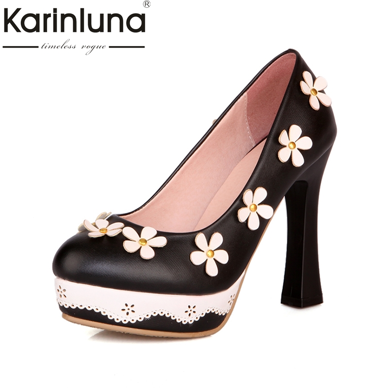 Hauts Bout Black Chaussures Plate 32 43 Flower Mariage Mignon De Talons Flower With black Taille forme Without green pink Flower Flower Femmes Parti Fleur Sexy Karinluna Rond Pompes wvUxzqOC
