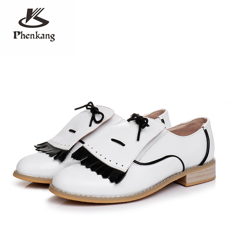 Genuine cow leather brogues designer vintage flats shoes handmade oxford shoes for women big US size 10 black white 2018 sping genuine cow leather women flats shoes handmade vintage british style oxford shoes for women shoes sandals 2018 spring big us 9