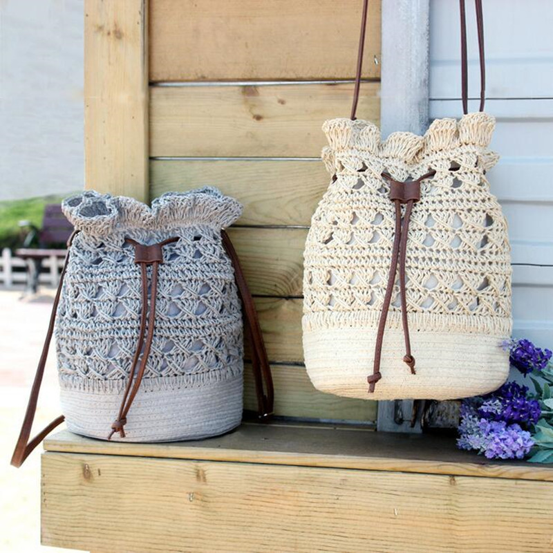 qicai.yanzi Summer Handmade Crochet Shoulder Bag Women Bags Rattan Straw Handbags Bucket Bags Hollow Out Beach Tote Draw String handmade flower appliques straw woven bulk bags trendy summer styles beach travel tote bags women beatiful handbags