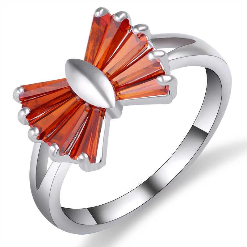3 สีสีแดง Pink Cubic Zirconia แหวนน่ารัก Tie knot แหวนผู้หญิงสีดำเครื่องประดับ anel anillos bagues สามารถ Dropship