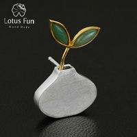 Lotus Fun 925 Sterling Silver Badge Pins and Brooches for Women Green Aventurine Leaf Flower Collar Pin Broches Statement Jewelr