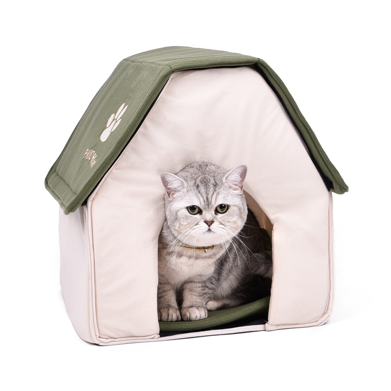 Drop Shipping Fällbar Pet Cat Cave House Katt Kattunge Bed Cama Para Cachorro Mjuk Hund Hus Katt Hundar Hem Form Red Green