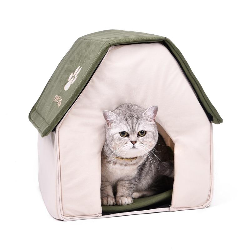 Transporte da gota dobrável animal de estimação gato caverna casa gato gatinho cama cama cama para cachorro macio casa gato cães forma casa verde vermelho