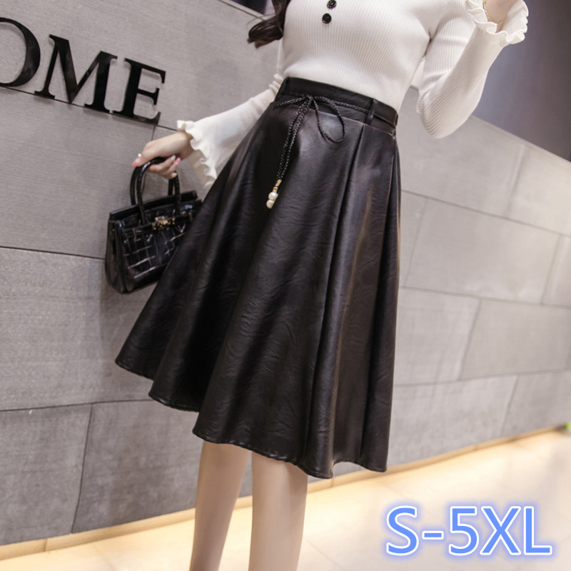 Women Fashion Faux Leather Skirt High Waist Pu Leather Long Skirts With Belt S-3XL,4XL 5XL Plus Size Women Clothing (74029)