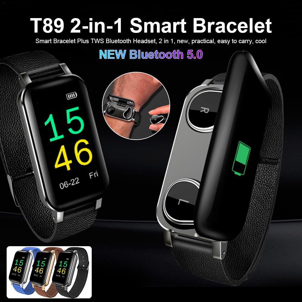 T89 Newest 2 in1 Smart Bracelet TWS Bluetooth5.0 Earphone  Heart Rate Blood Pressure Monitoring IP67 Waterproof Sports SmartbandT89 Newest 2 in1 Smart Bracelet TWS Bluetooth5.0 Earphone  Heart Rate Blood Pressure Monitoring IP67 Waterproof Sports Smartband