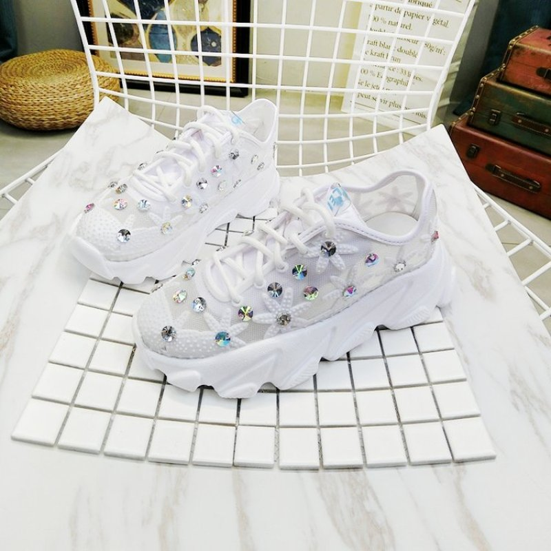 Women's Chunky Sneakers 2019 Fashion Basket Women Crystal Flower Platform Lace Up White Female Trainers Heel Dad Casual Shoes