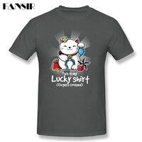 حسن الحظ مع لاكي القط الرجال تي شيرت مضحك تيز قميص الرجال الرجل قصيرة الأكمام القطن مخصص زائد حجم الصيف تيز ل فريق