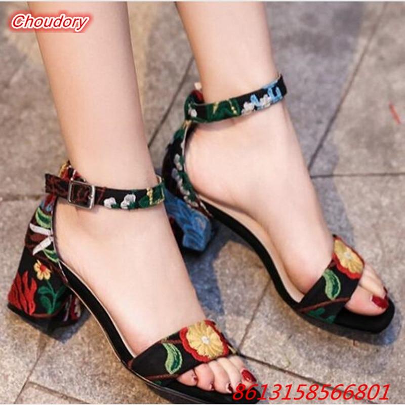 Ethnic Style Embroider font b Women b font Sandals Retro National Style Pumps font b Women
