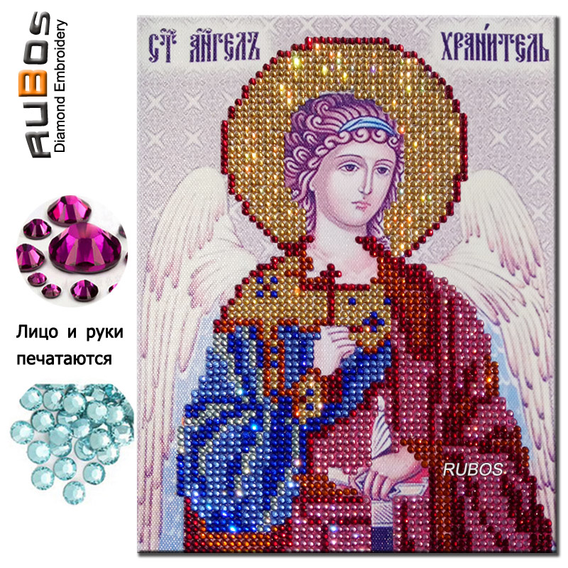 RUBOS The Holy Guardian Angel Icon diamond embroidery religions DIY 5D diamond painting partial glass crystal rhinestone craft