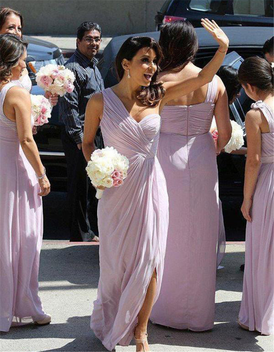 Elegant Lavender One Shoulder   Bridesmaid     Dresses   Pleat Chiffon Side Split Floor Length Cheap Wedding Party Gowns Custom Made