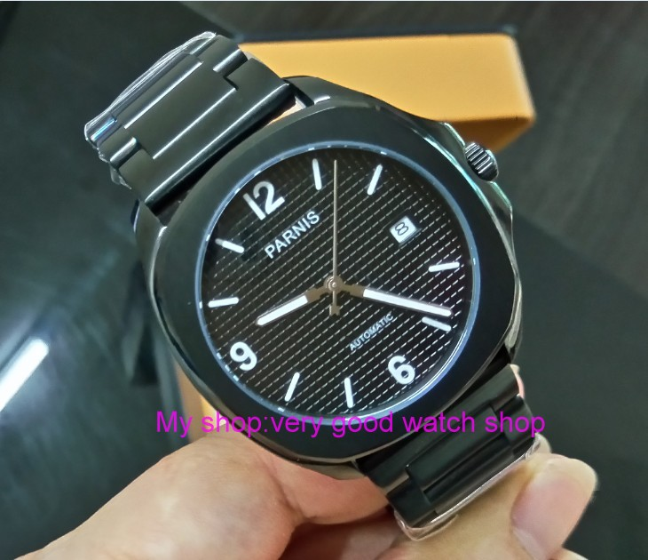 Sapphire Crystal 40mm PARNIS black dial Japanese Automatic Self-Wind movement mens watch PVD case Mechanical watches  415SSapphire Crystal 40mm PARNIS black dial Japanese Automatic Self-Wind movement mens watch PVD case Mechanical watches  415S
