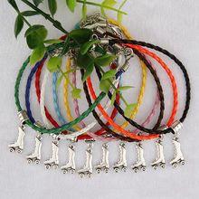 50pcs Fashion Jewelry Vintage Silver Skate Skateboard Charm Multicolor Braided Rope Protection Bracelets Bracelet Women D500 50pcs tibetan silver cute roller skate ditsy charm necklace sp chain xa18