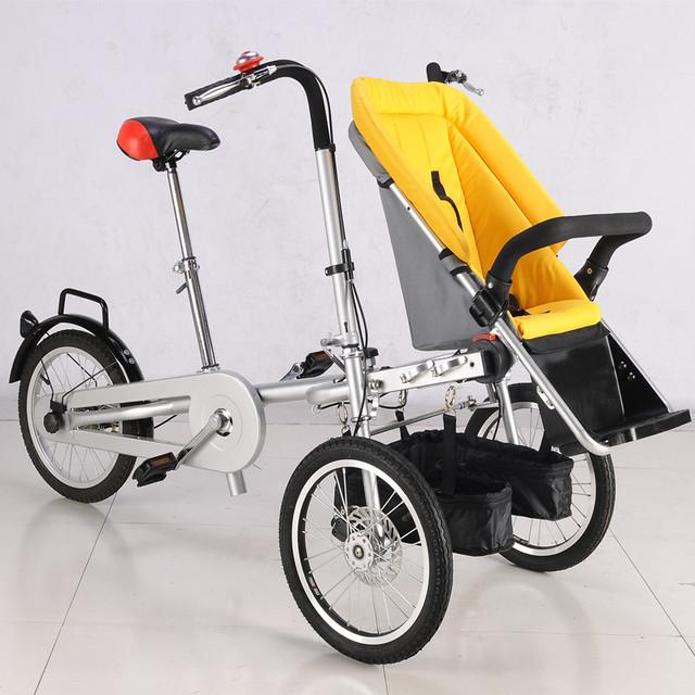 2017 Bebê e Mamãe HandPush Carrinho De Bicicleta 3 rodas carrinho de Bebê Menino meninas Crianças Dobráveis Carrinhos Carrinhos Carrinho de Bebé 3 em 1 Carrinhos de Bebê Amarelo