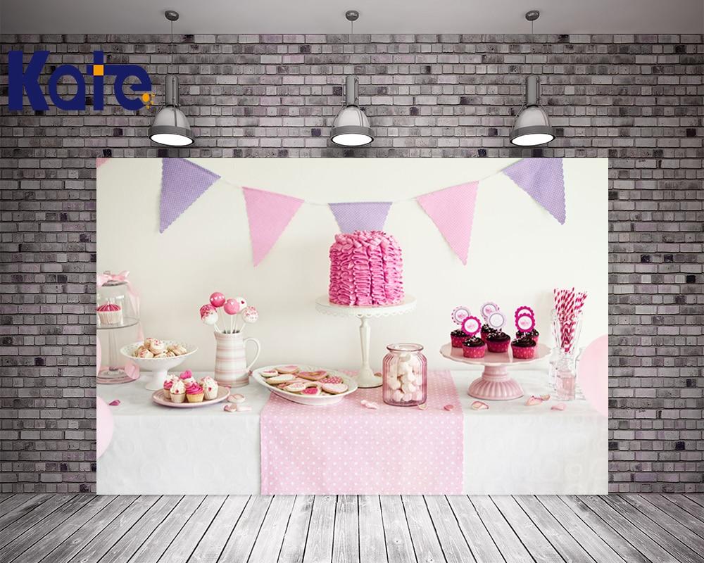Kate Všechno nejlepší k narozeninám růžové téma bílé pozadí pro novorozené děti děti lahodné Dezerty dorty dezert stanice pro děti