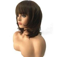 StrongBeauty Kadınlar Sentetik Peruk Orta Uzunlukta Düz Koyu Kahverengi/Orta Auburn Katmanlı Saç Kesimi Doğal Peruk