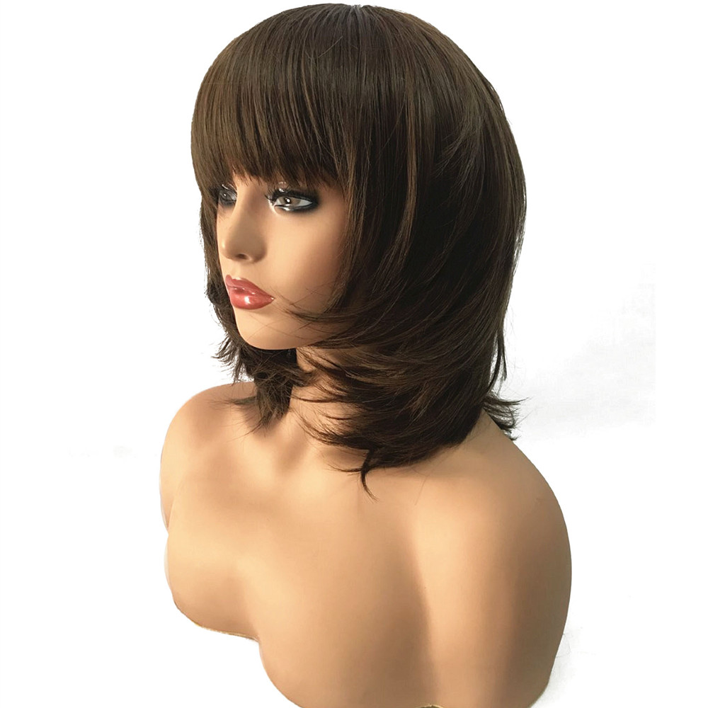 StrongBeauty Women Synthetic Wig Medium Length Straight Dark Brown/Medium Auburn Layered Haircut Natural Wigs