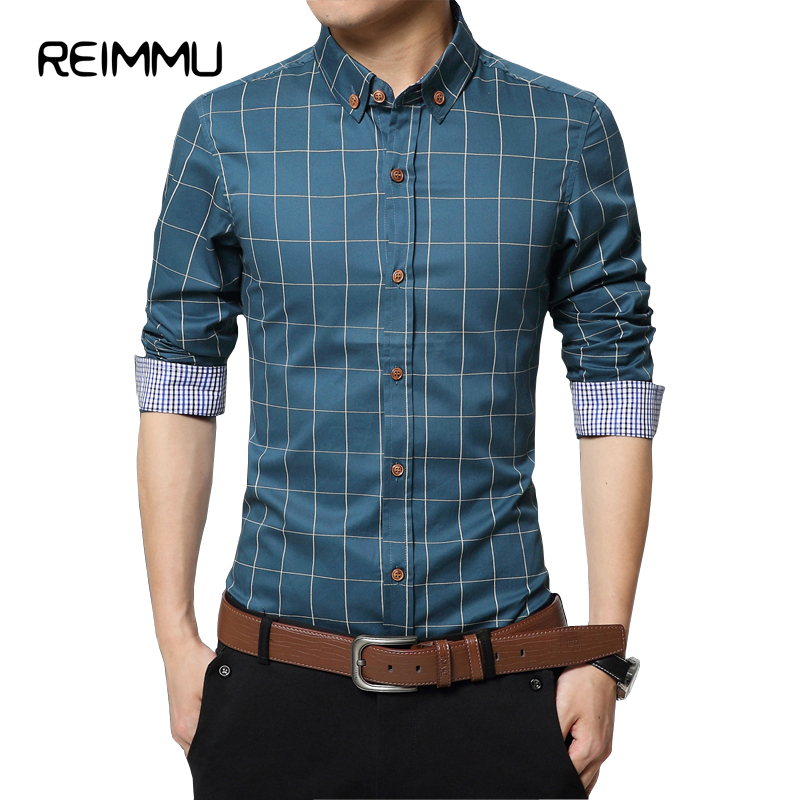 2017 New Fashion Brand Casual Shirt Male Oversized 5XL Mens Dress Shirts Pure Cotton Plaid Casual Shirt Brand Clothing Masculina