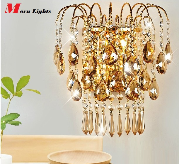 crystal light fixture Luxury Top crystal Wall Lamp gold wall Sconce lamp Bedroom living room wall lamps sconce crystal light-in Wall Lamps from Lights & Lighting