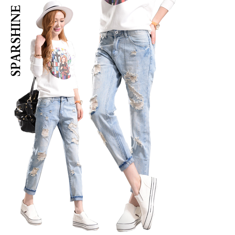 SPARSHINE new women causual cotton denim harem pants vintage bleach ripped holes fashion sexy female mid waist jeans