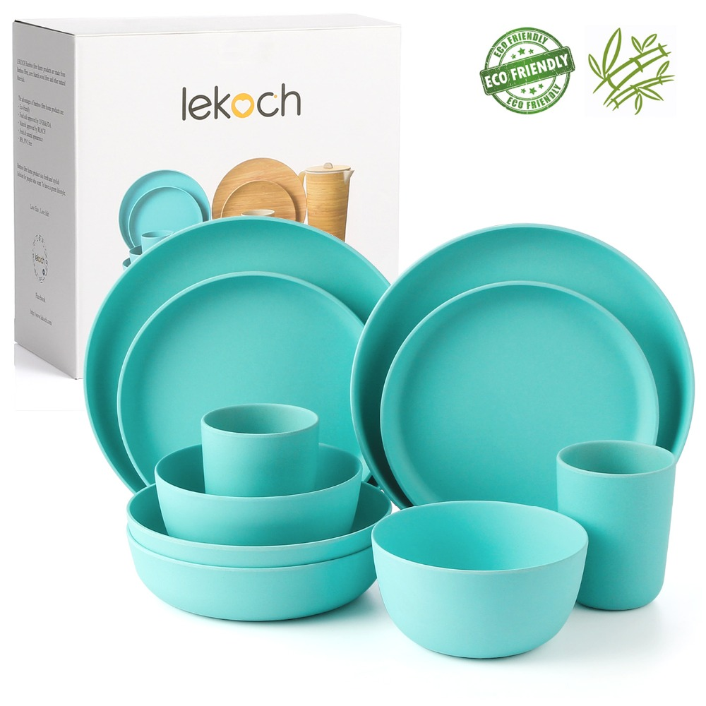 Lekoch 10pcs Plate Bamboo Fiber Children Tableware Plate Set Salad Bowl Cup Sets Fruits Dessert Snack Cake Plate Christmas Gift-in Dishes & Plates from Home & Garden    1