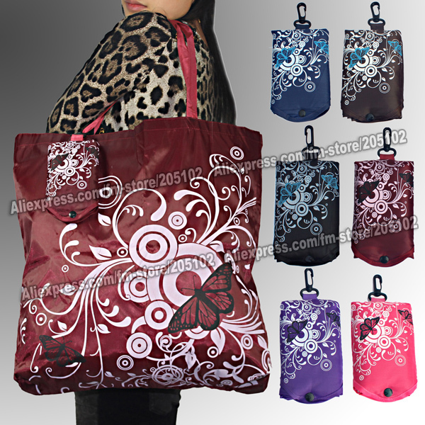 Big square pocket fabric shopping bag,Eco-friendly folding reusable Portable Shoulder handle Bag Polyester for Travel Grocery