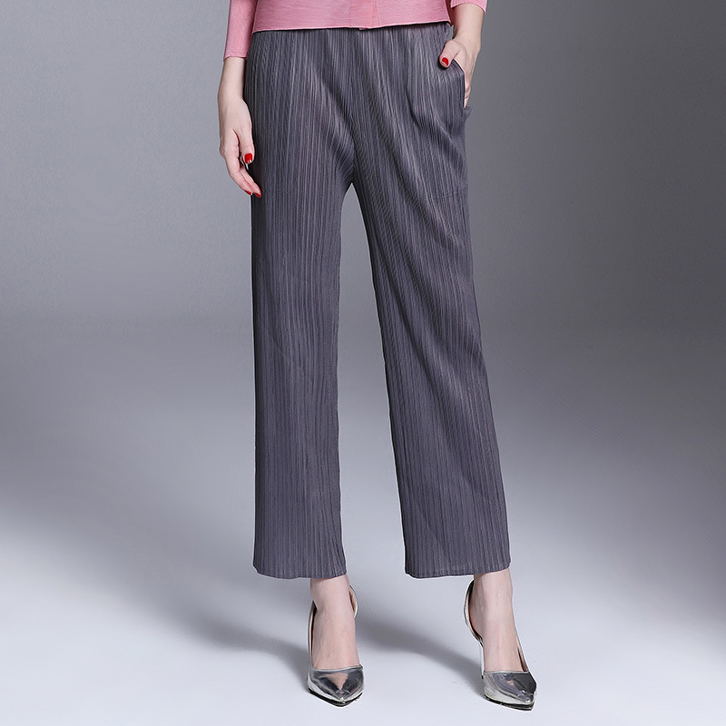 Color Mujeres Pantalones Casual Suelto Alta Otoño blue Oficina Elstic grey Black Señora Plisado Sólido Gama 4PFqdxw