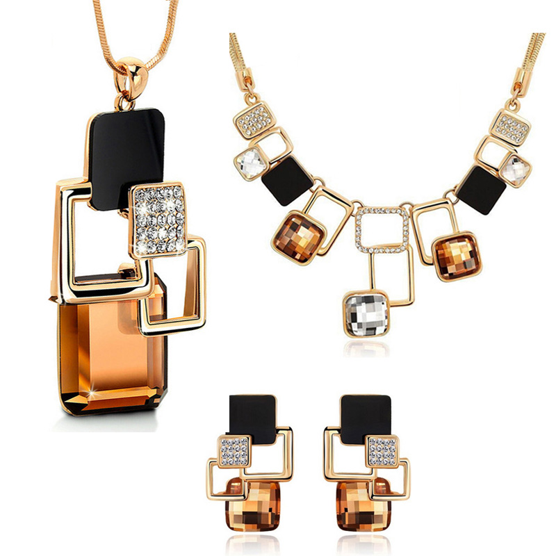 European and American fashion 3p Golden Hollow Geometric Big Stone Jewelry Sets Crystal Fine jewellery Set for women personality stylish golden hollow rounded rectangle hasp bracelet for women