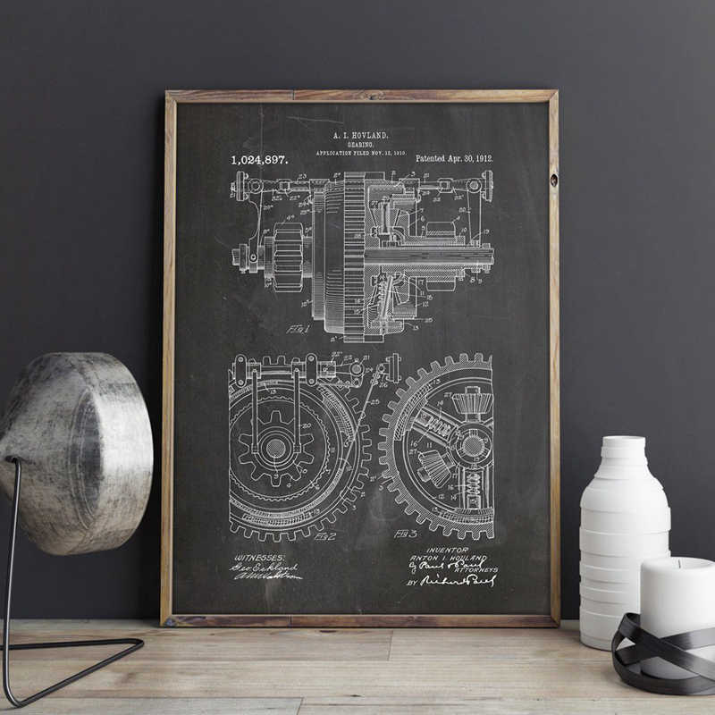 Metalen Tandwielen Patent Mechanische Gearing kunstwerk Wall Art Prints Posters Home Room Decor Vintage Blauwdruk Canvas Schilderij Foto