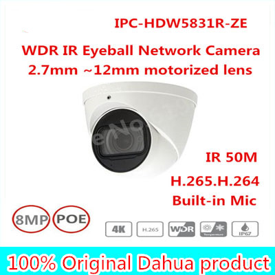 Brand New Original English version without logo IPC-HDW5831R-ZE 8MP WDR IR Eyeball Network Camera POE CCTV Built-in Mic IP67 free shipping dahua ip camera cctv 6mp wdr ir eyeball network camera with poe ip67 without logo ipc hdw5631r ze