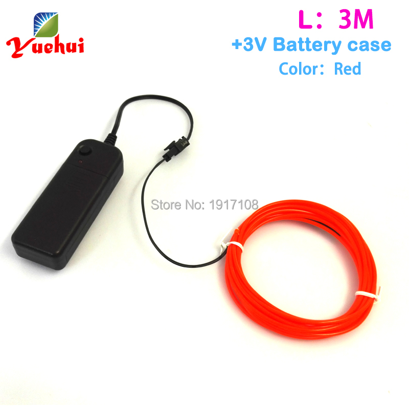 ①2.3mm 3Metres By DC-3V driver Flexible EL Wire Trendy Neon Light ...