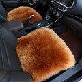 100% Pura piel de oveja asiento de coche asiento cubre 1 unids de fornt para el coche-cubre capas de piel auto Cojín del asiento de coche de diseño Interior