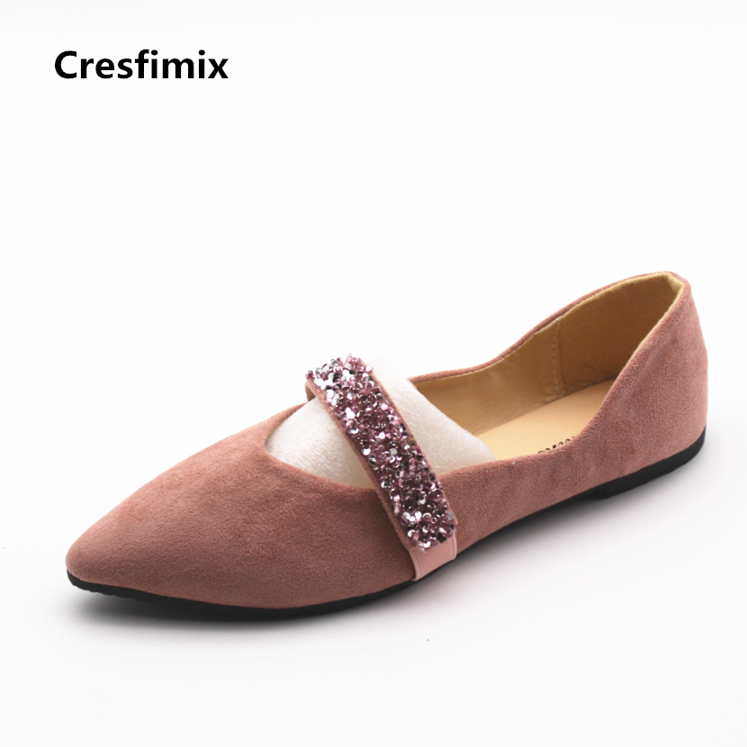 Cresfimix women casual pink comfortable flat shoes lady cute spring & summer elastic band sexy flats female cool & soft shoes cresfimix women cute black floral lace up shoes female soft and comfortable spring shoes lady cool summer flat shoes zapatos