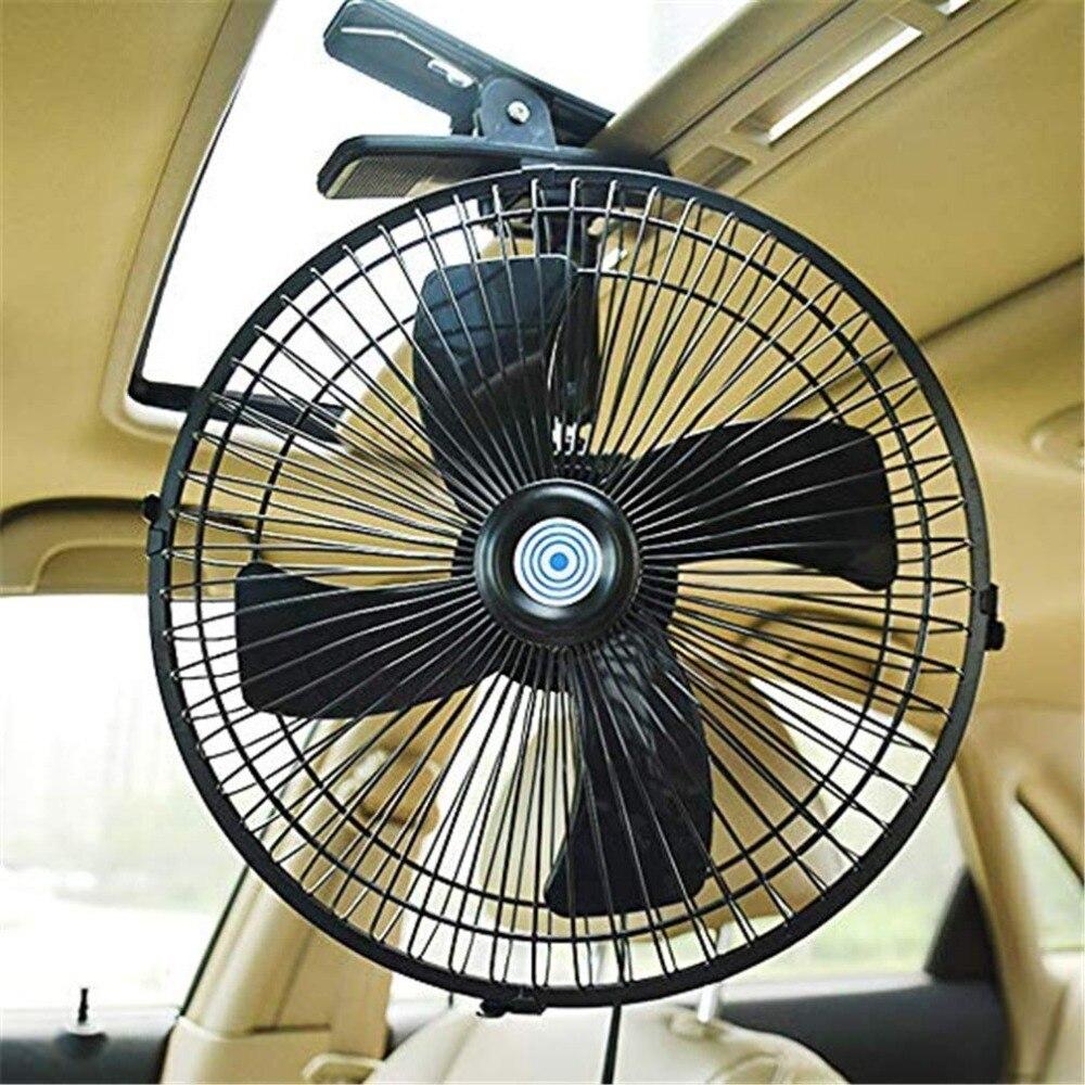 Ventilador de flujo de aire de 10 pulgadas 12/24V para el hogar 2 velocidades refrigeración eléctrica de verano con Clip Universal